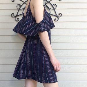 Navy Striped Cold Shoulder Dress